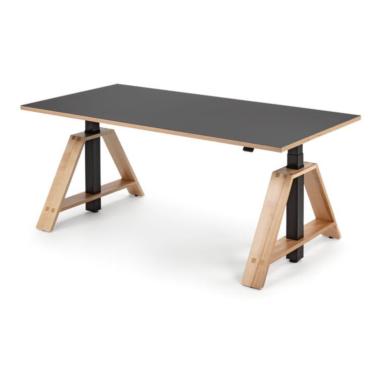 Steh-Sitz-Arbeitstisch Esche und Linoleum