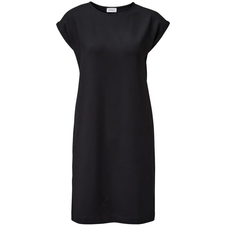 Damen-Jerseykleid, Schwarz, Schwarz